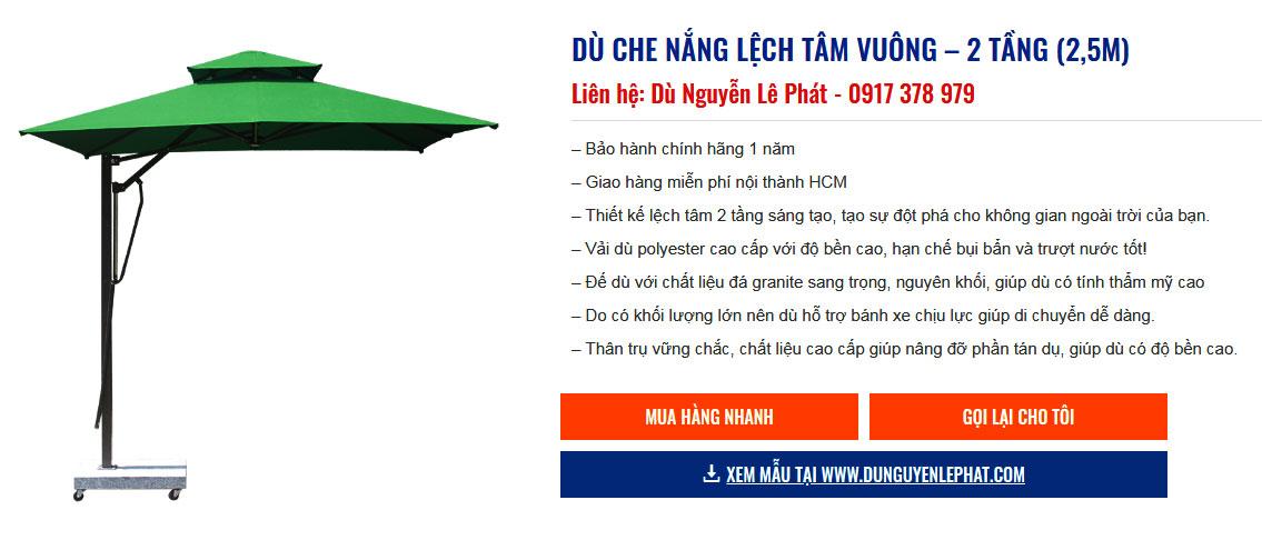 DÙ CHE NẮNG LỆCH TÂM VUÔNG – 2 TẦNG (2,5M) Liên hệ: Dù Nguyễn Lê Phát - 0917 378 979